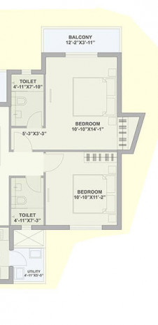 Unit Plan for Tata Ariana - Tower 3 - 3 BHK Small