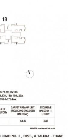 Tata Serein Floor Plan   Tower 1A Plan - Tata Serein 2 BHK Image 2
